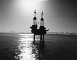 A Texaco offshore oil platform in Cook Inlet on Alaska's southern coast, late 1960s.