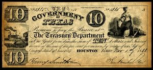 finance commerce/texas banknote 1838 dollar banknote issued treasury