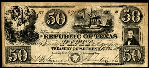 finance commerce/texas banknote 1839 fifty dollar banknote issued