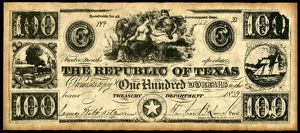 finance commerce/texas banknote 1839 note dollars issued treasury
