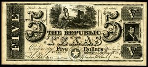 finance commerce/texas banknote 1840 note dollars issued treasury
