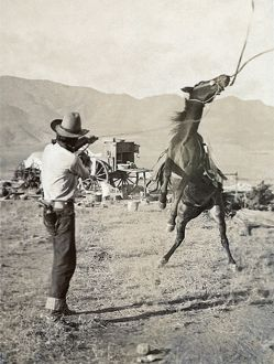 TEXAS: COWBOY, c1910. A cowboy holding a rope around the neck of a bucking bronco