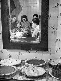 THANKSGIVING, 1940. Thanksgiving Day at Ledyard, Connecticut. Photograph, 1940