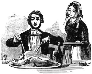 THANKSGIVING, 19th CENTURY. American wood engraving, 19th century