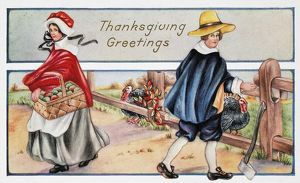 THANKSGIVING, c1900. American Thanksgiving Day card, c1900.