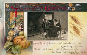 THANKSGIVING CARD, 1909. American postcard, 1909.