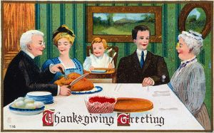 THANKSGIVING CARD, 1910. American Thanksgiving card, c1910.