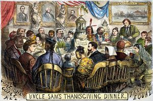 THANKSGIVING CARTOON, 1869. Uncle Sam's Thanksgiving Dinner: cartoon, 1869, by