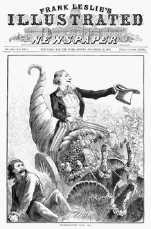 THANKSGIVING PARADE, 1887. Uncle Sam, shoving aside anarchy, rides triumphantly in