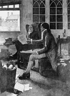 Thomas Jefferson reading his rough draft of the Declaration of Independence to Benjamin Franklin