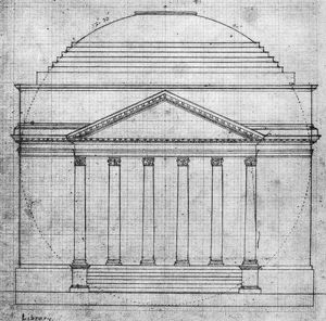 Thomas Jefferson's plan in his own hand, of the front elevation of the Rotunda of the University of Virginia, 1821.