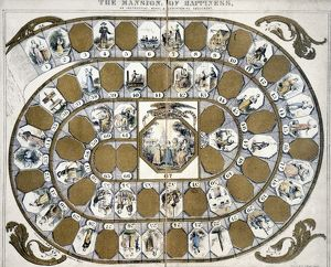 Thought to be first board game produced in U.S., 1843.