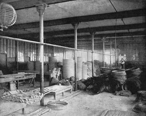 TIRE FACTORY, 1897. Interior of the Beeston pneumatic tire factory in England. Photograph