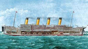 THE TITANIC, 1912. Cross section of the Titanic, the White Star liner that sank, 14-15 April 1912