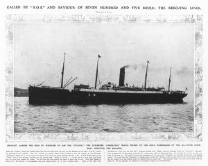 TITANIC: THE CARPATHIA, 1912. The rescuing liner 'Carpathia, which came to the