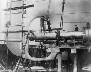 TITANIC: CONSTRUCTION, 1912. Workers assembling the propeller shafts of the RMS 'Titanic&#39