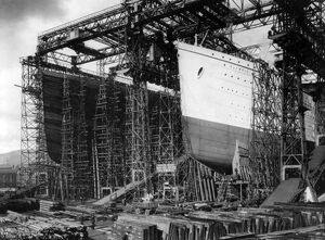 TITANIC: CONSTRUCTION, c1910. View of the 'Olympic' (left) and 'Titanic&#39