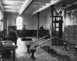 TITANIC: EXERCISE ROOM, 1912. The gymnasium aboard the 'Titanic,' showing