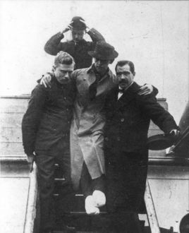 TITANIC: HAROLD BRIDE. With his feet crushed and frostbitten, second wireless operator
