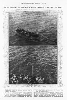 TITANIC: LIFE-BOATS, 1912. Uncrowded life-boats of the 'Titanic,' 1912.