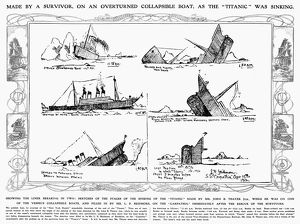 TITANIC: SINKING, 1912. Contemporary sketches by a survivor of the sinking of the 'Titanic