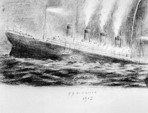 TITANIC SINKING, 1912. The sinking of the Titanic during the night of 14-15 April 1912
