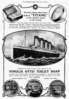 TITANIC: SOAP AD, 1912. The White Star liner 'Titanic' used in an English