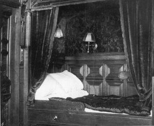 TITANIC: SUITE, 1912. A private suite appointed with a four-post bed, only two such