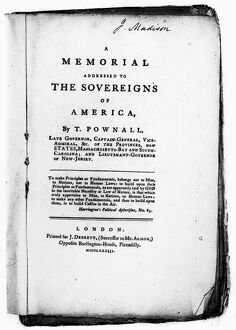 Title page of Thomas Pownall's 'A Memorial Addressed to the Sovereigns of America