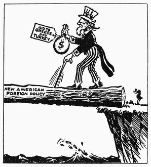 'Where To?' American cartoon comment, 1947, on President Truman's request