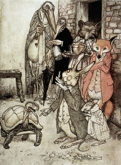 'The Tortoise and the Hare.' Illustration by Arthur Rackham (1867-1939) for