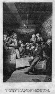 TORY PANDEMONIUM, c1775. A meeting of angry loyalists during the American Revolution