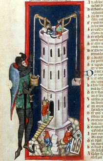 TOWER OF BABEL, 1375. Nimrod building the Tower of Babel: German ms. illumination