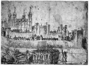 TOWER OF LONDON, 1600s. Troops and cannons at the Tower of London
