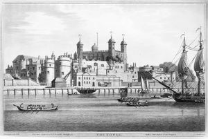 TOWER OF LONDON, 1795. The Tower of London on the River Thames. Lithograph, English