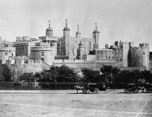 TOWER OF LONDON, 1890s. View of the Tower of London, dominated by the White Tower, dating to 1078