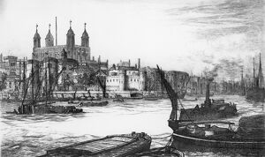 TOWER OF LONDON, c1875. 'The Tower of London' Drawing by J