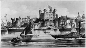 TOWER OF LONDON, c1875. The Tower of London on the River Thames. Lithograph, English