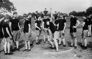 TRACK AND FIELD, c1910. Blind track and field athletes at Overbrook School for
