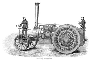 TRACTION ENGINE, 1858. Bray's patent traction engine. Wood engraving, English, 1858