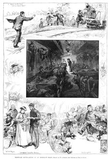 TRAIN TRAVEL, 1883. 'Westward Bound - Scenes on an Immigrant Train.' Engraving