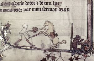 TRAINED HORSE, 14th CENTURY. A man with a performing horse and ape