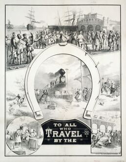 TRAVEL POSTER, c1882. Poster wishing luck to travelers, with scenes of immigrants