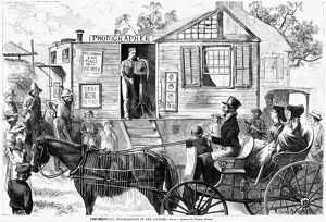 TRAVELING PHOTOGRAPHER. 'The traveling photographer in the country.' Engraving