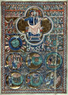 TRINITY/CREATION, C1220. Trinity with the Creation of the World, English Bible