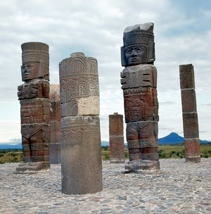 TULA: TOLTEC MONUMENTS. Giant warrior monuments decorated with stylized butterflies