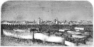 TUNISIA: TUNIS, 1881. 'Tunis - View of Kairouan from the suburbs.' Engraving, 1881