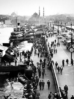 TURKEY: ISTANBUL, 1958. The Galata Bridge in Istanbul, Turkey. Photographed 1958.