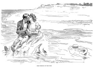 'The Turning of the Tide.' Pen and ink drawing by Charles Dana Gibson, 1901.