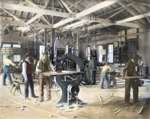 TUSKEGEE INSTITUTE, 1906. A woodworking shop at the Tuskegee Institute in Tuskegee